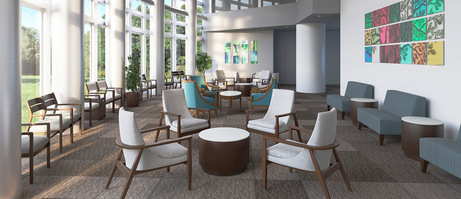 Durable and comfortable healthcare furniture designed to aid in eliminating hospital acquired infections.